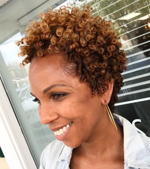 Short Natural Hairstyle With Balayage