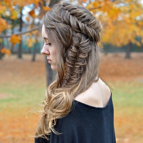 Fishtail Crown And Side Braid Hairstyle