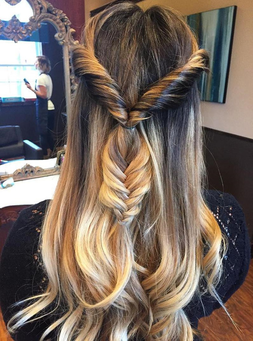 half updo with twists and fishtail braid