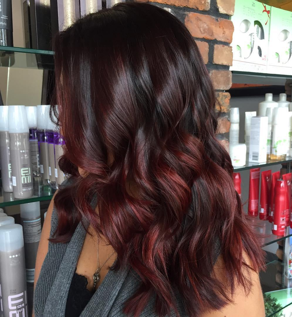 Picture of black and magenta balayage hair - Black Hair With Burgundy And Maroon Balayage
