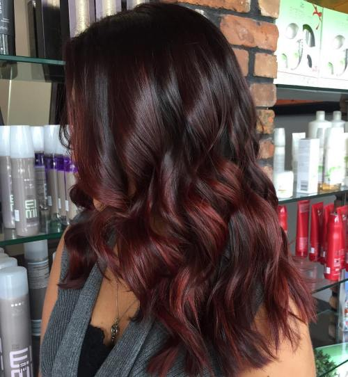Black Hair With Burgundy And Maroon Balayage