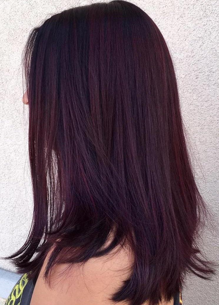 Dark hair to burgundy