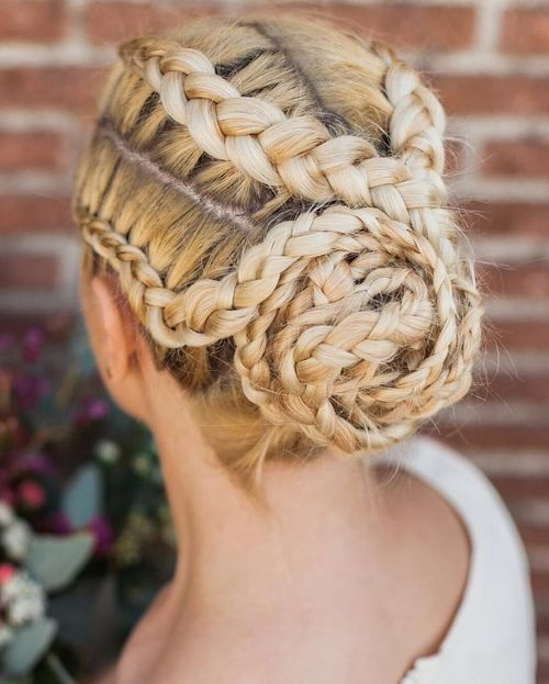 four braids and bun updo