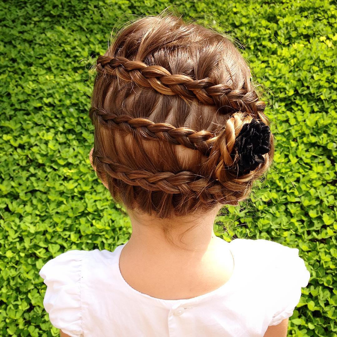 Three Braids Updo For Kids