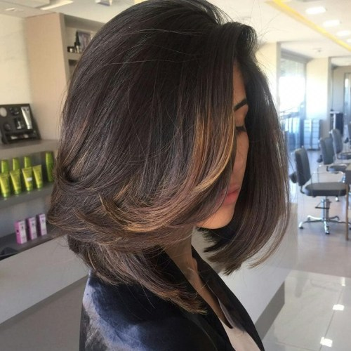 Brunette Lob with Partial Brown Balayage