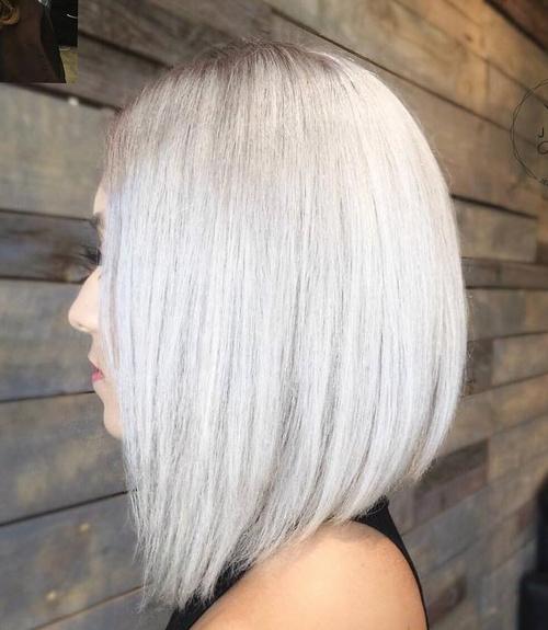 Long Silver Blonde Bob