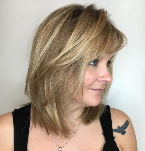 Mid-Length Layered Cut With Side Bangs
