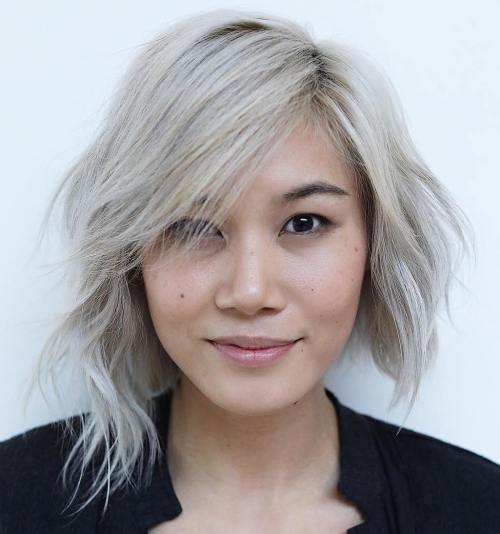 Side Parted Asymmetrical Bob
