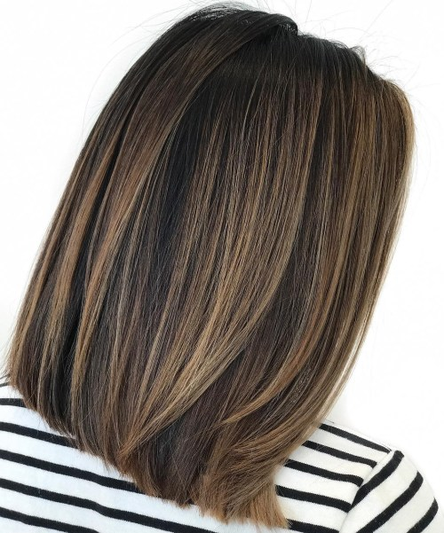 Black Hair with Brown Balayage