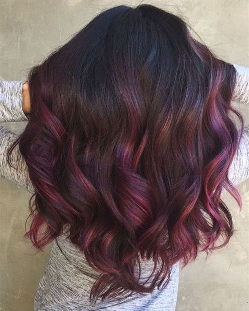 Burgundy Balayage With Violet Babylights