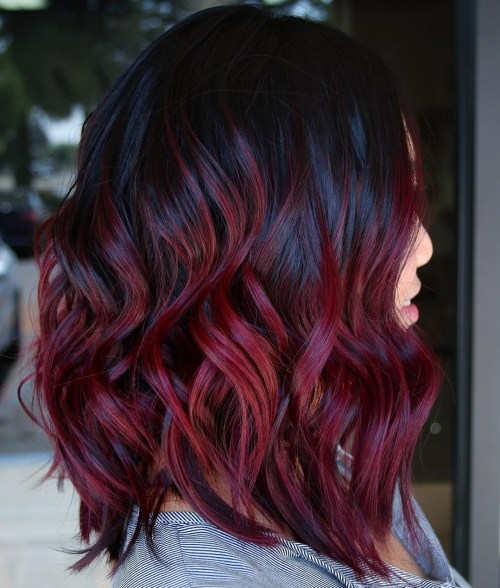 Glossy Black And Burgundy Hair