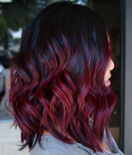 Glossy Black And Burgundy Hair