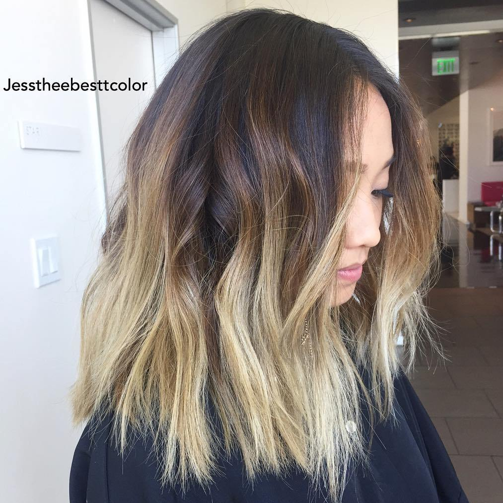 Brown Lob With Blonde Balayage Ombre