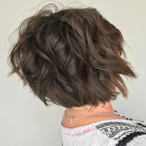 Choppy Brunette Bob For Women Over 50