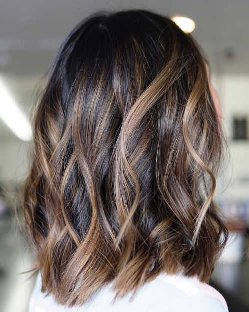 Dark Hair With Caramel Bronde Balayage
