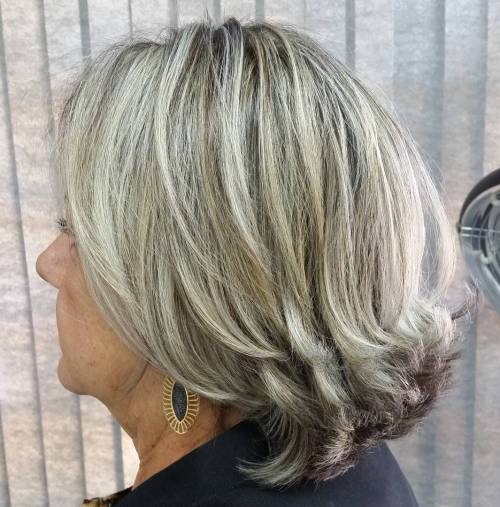 Medium Gray Hairstyle For Older Women