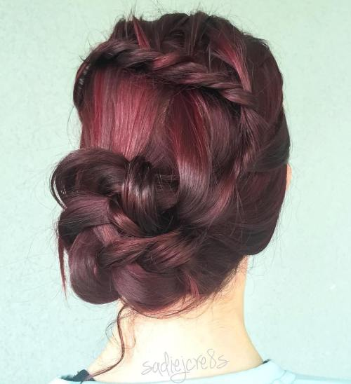 Side Braided Bun With A Twist