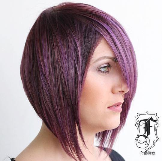 Angled Layered Purple Balayage Bob