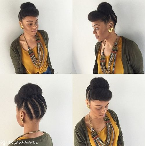 cute braided natural updo