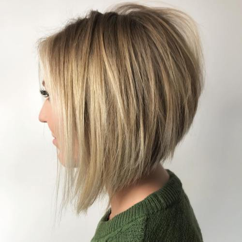 Inverted Bronde Balayage Bob
