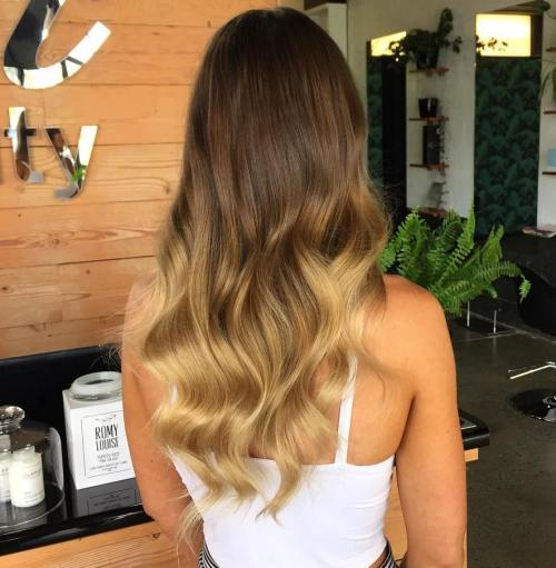 Long Brown Blonde Ombre Hair