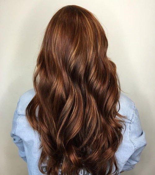 Long Chocolate Brown Hair With Caramel Highlights