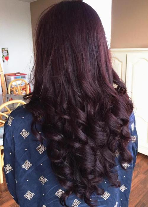 Long Curly Burgundy Hairstyle