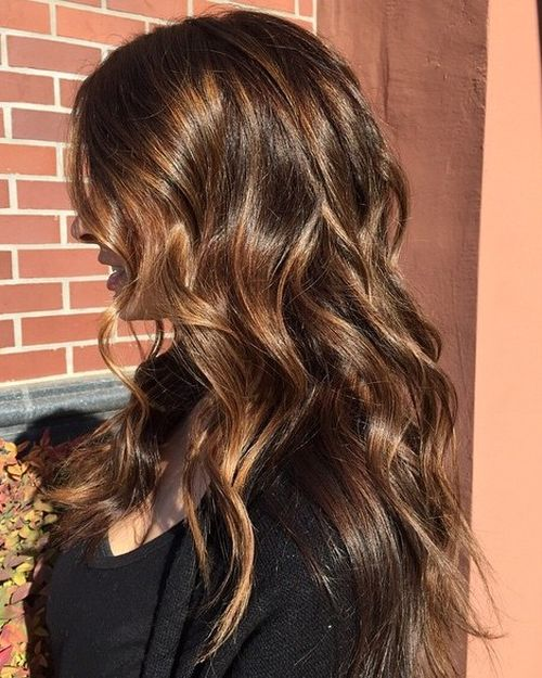 long layered brown hair