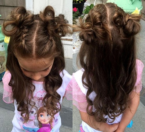 messy curly hairstyle for little girls