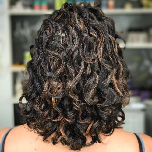 Black Curly Hairstyle With Copper Highlights