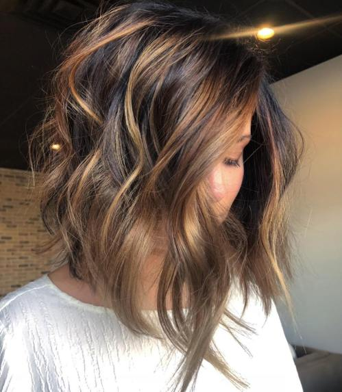Black Lob with Bronde and Caramel Highlights