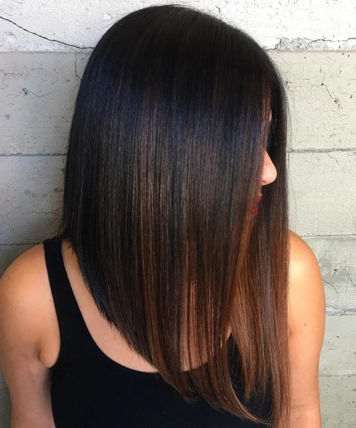 Black Sleek Angled Lob With Brown Balayage