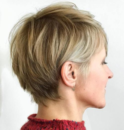 Bronde Feathery Pixie For Fine Hair
