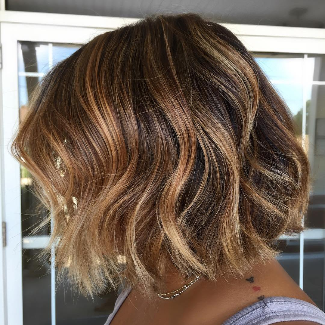 Brown Bob With Caramel And Blonde Highlights