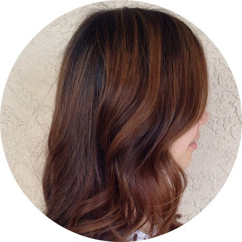 brown hair with subtle caramel highlights