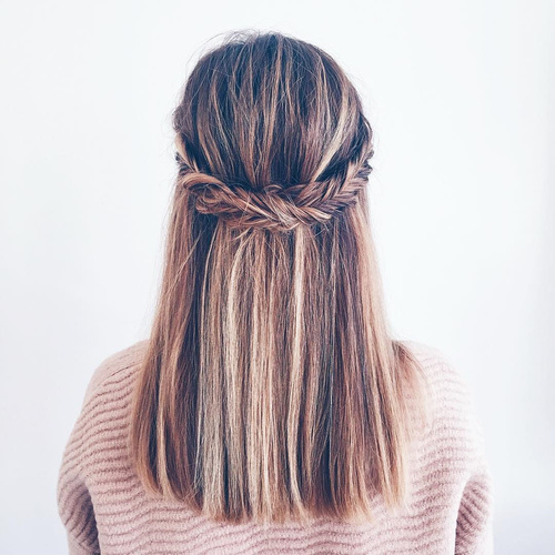 half updo for straight hair with fishtail crown