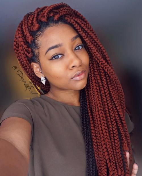 Long Side-Swept Box Braids
