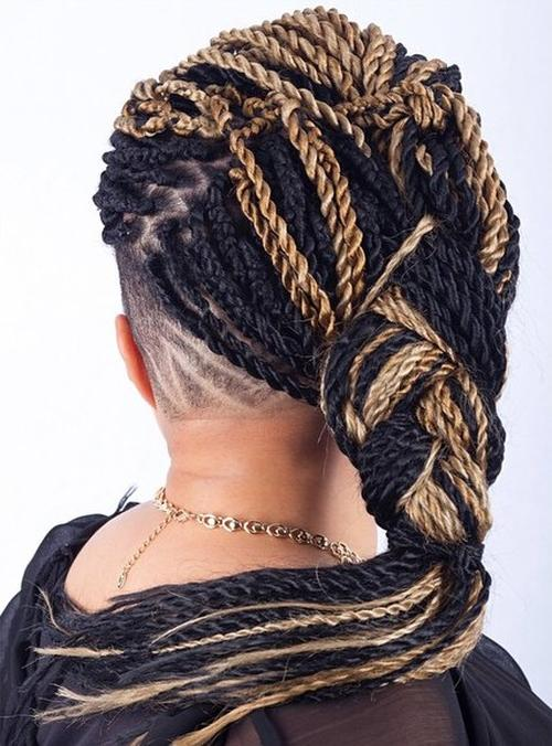 two-tone black twist hairstyle with undershave