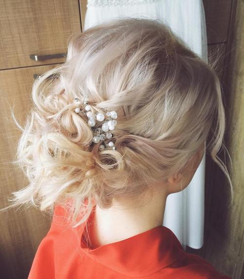 60 updos for thin hair that score maximum style point messy blonde updo for thin hair pmusecretfo Image collections