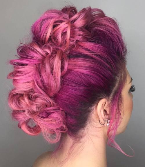 pastel pink mohawk updo