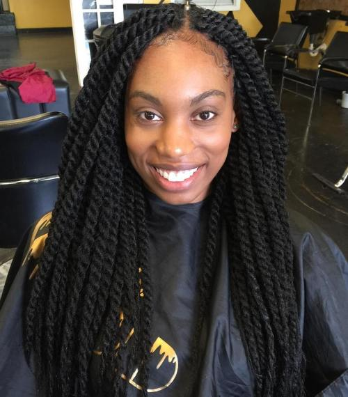 Centre-Parted Chunky Twists