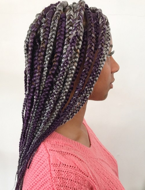 Purple Box Braids With Gray Highlights