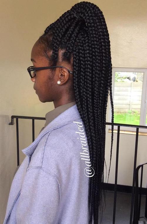 high half up ponytail for big box braids