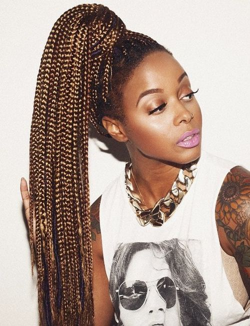 long high ponytail for box braids