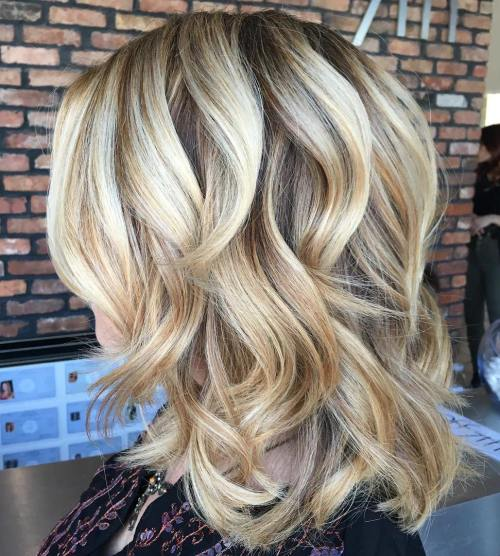 Medium Curly Blonde Hairstyle