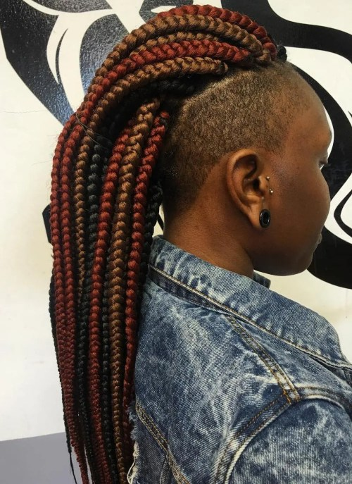 Mohawk Box Braids With Undershave