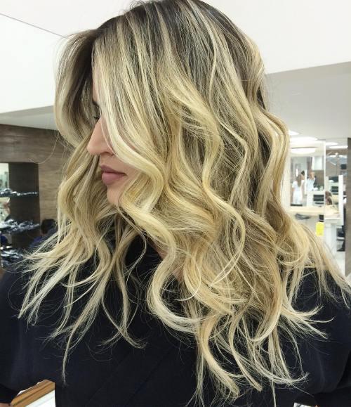 Long Curly Blonde Balayage Hairstyle