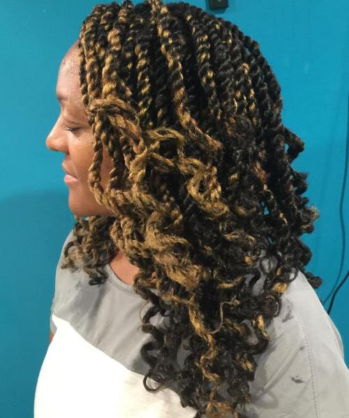 Curly Layered Twists With Highlights