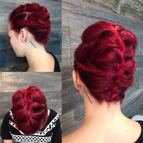 french braided Mohawk updo