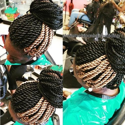 black and blonde twists updo hairstyle